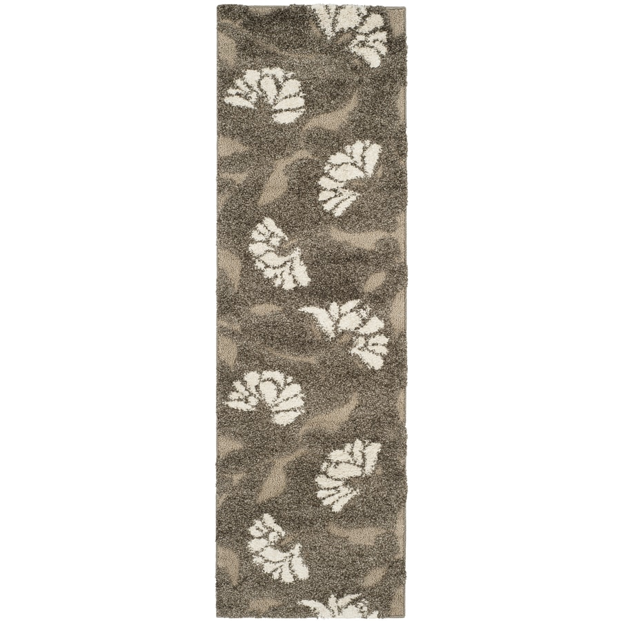 Safavieh Florida Shag Smoke/Beige Rectangular Indoor Machine-Made Tropical Runner (Common: 2.3 x 15; Actual: 2.25-ft W x 15-ft L)
