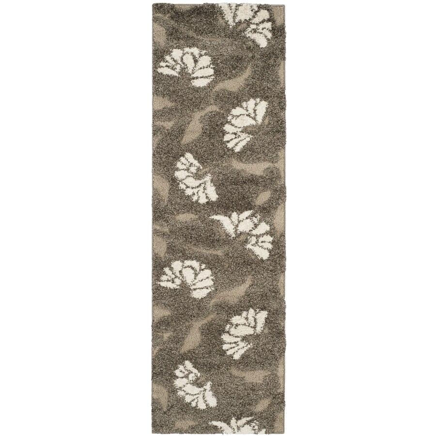 Safavieh Florida Shag Smoke/Beige Rectangular Indoor Machine-Made Runner (Common: 2 x 14; Actual: W x L x 0-ft Dia)