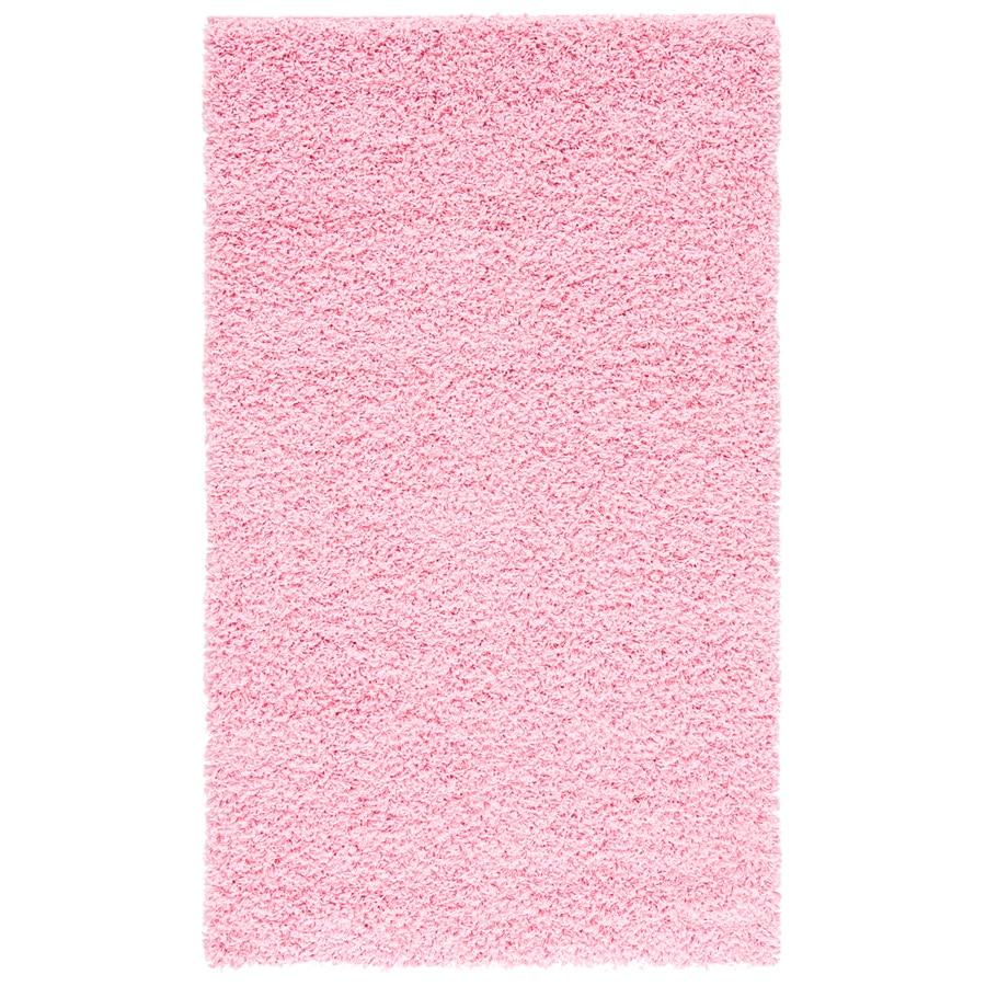 Safavieh Athens Shag Pink Rectangular Indoor Machine-Made