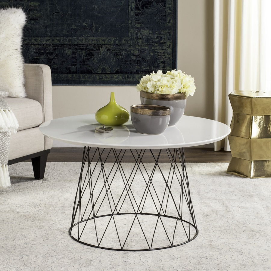 Black And White Striped Round Coffee Table: Safavieh Roe White/Black Round Coffee Table At Lowes.com