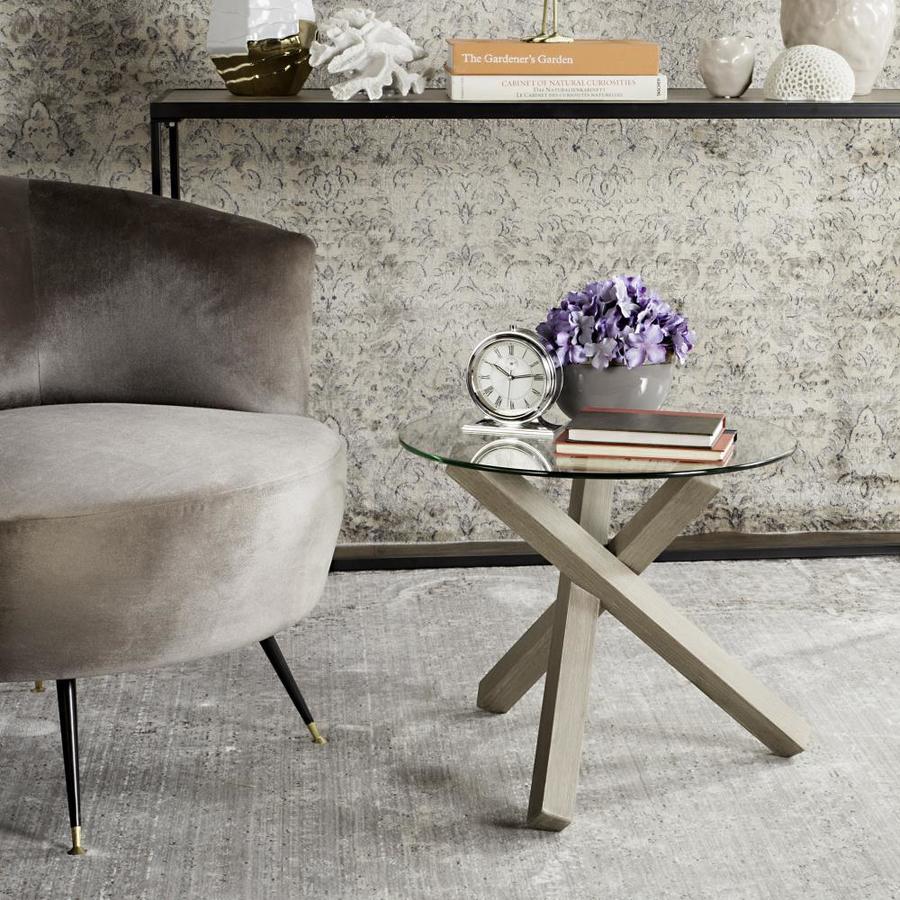 shop safavieh amare light oak glass modern end table at. Black Bedroom Furniture Sets. Home Design Ideas