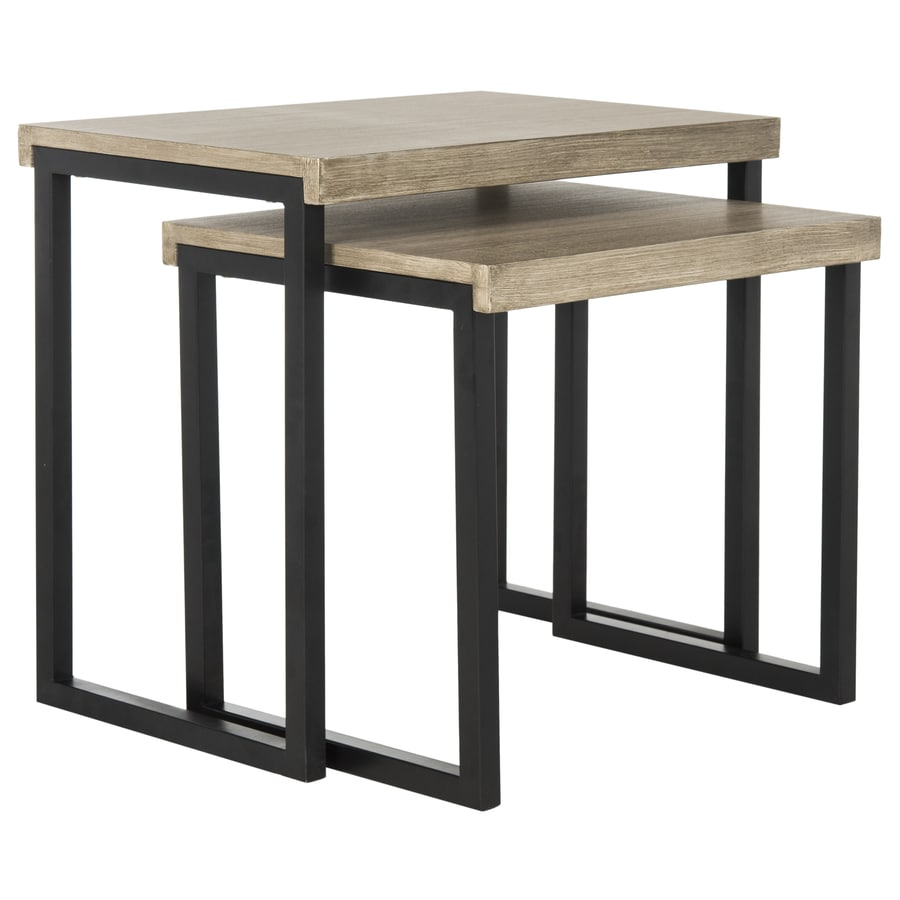Safavieh Alcott Light Oak/Black Wood Casual End Table