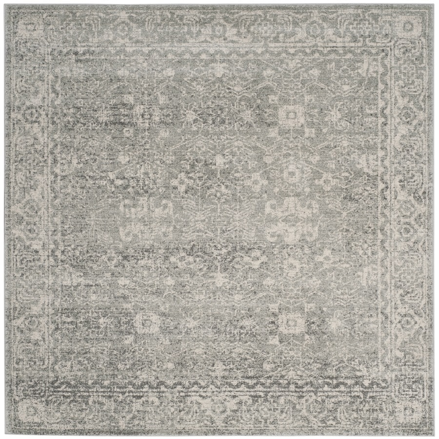 Safavieh Evoke Likoma Silver/Ivory Square Indoor Machine-Made Oriental Area Rug (Common: 5 x 5; Actual: 5.1-ft W x 5.1-ft L)
