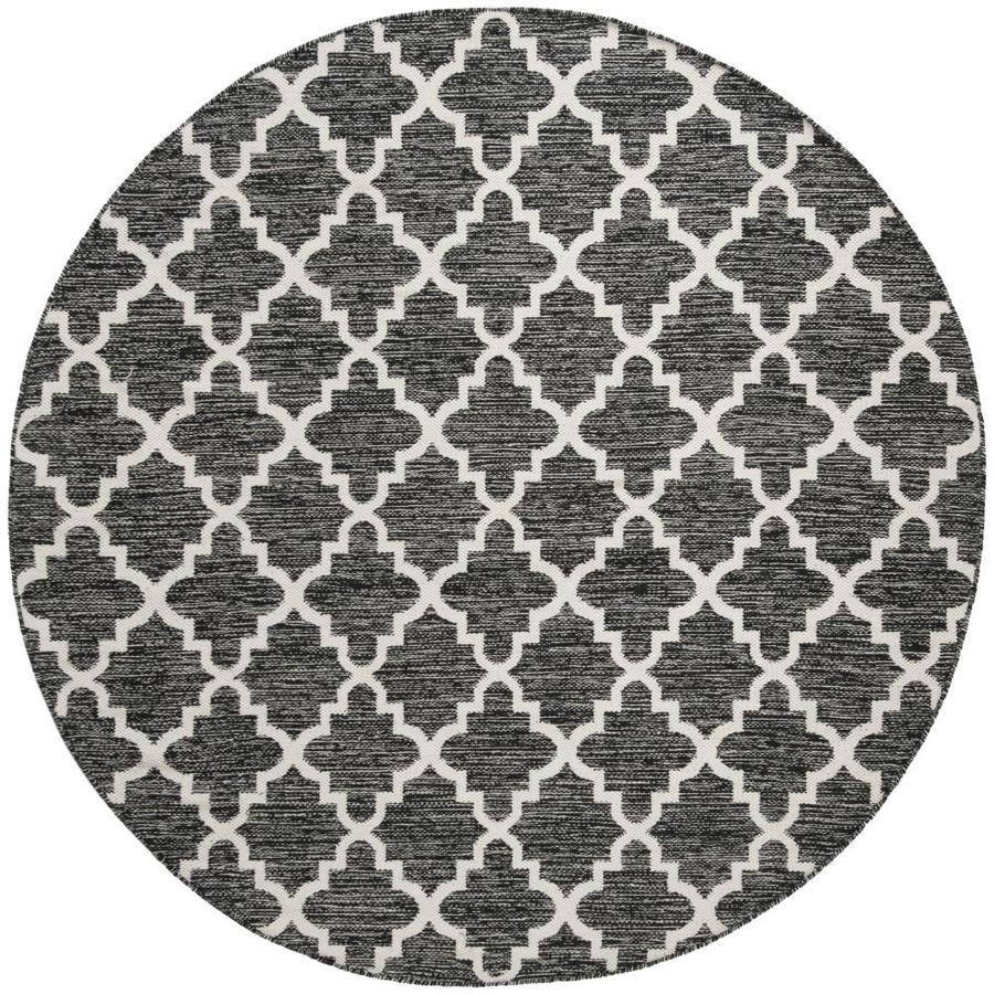 Safavieh Montauk Bolsa Black/Ivory Round Indoor Handcrafted Coastal Area Rug (Common: 6 x 6; Actual: 6-ft W x 6-ft L x 6-ft dia)