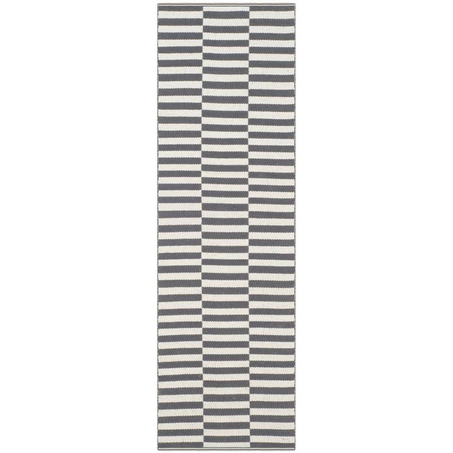 Safavieh Montauk Fitzroy Ivory/Gray Rectangular Indoor Handcrafted Coastal Runner (Common: 2 x 12; Actual: 2.3-ft W x 11.6-ft L)