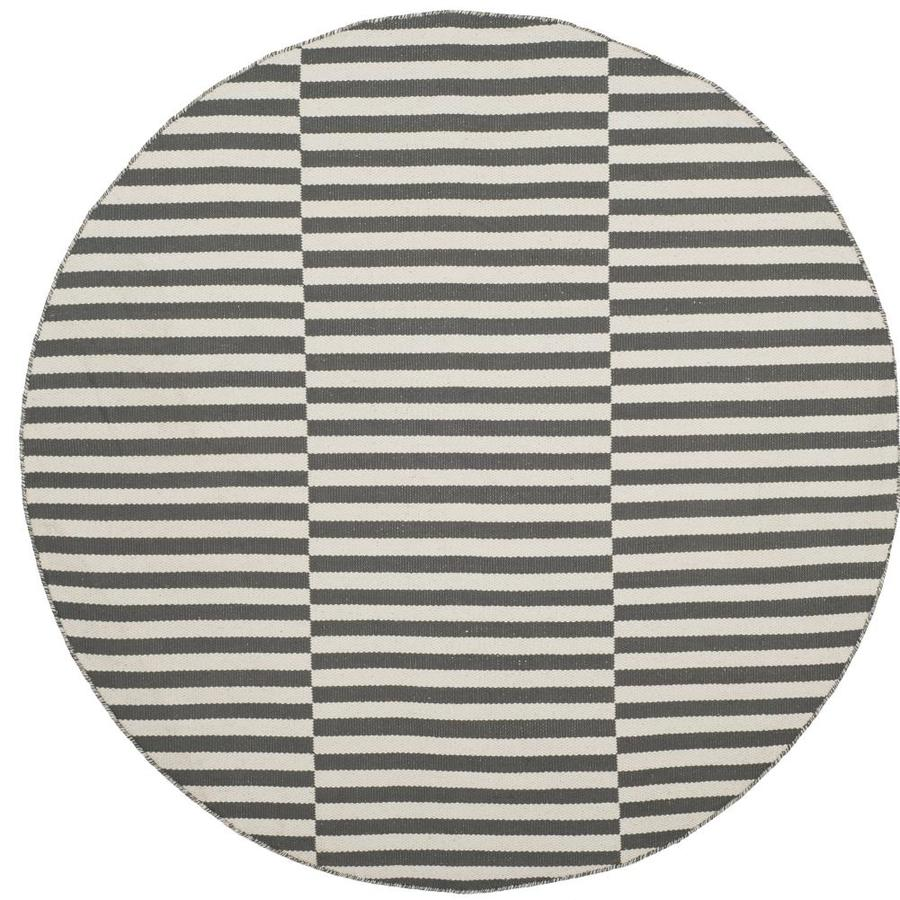 Safavieh Montauk Fitzroy Ivory/Gray Round Indoor Handcrafted Coastal Area Rug (Common: 6 x 6; Actual: 6-ft W x 6-ft L x 6-ft dia)