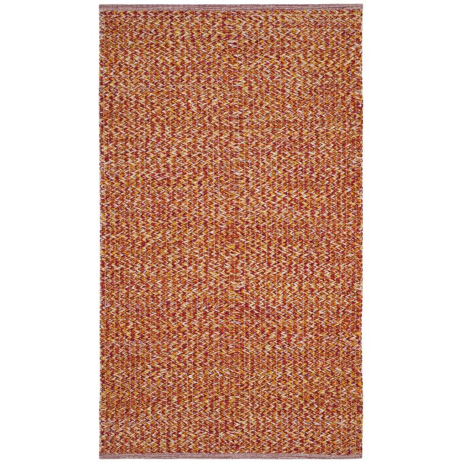 Safavieh Montauk Wategos Orange/Multi Rectangular Indoor Handcrafted Coastal Throw Rug (Common: 3 x 5; Actual: 3-ft W x 5-ft L)