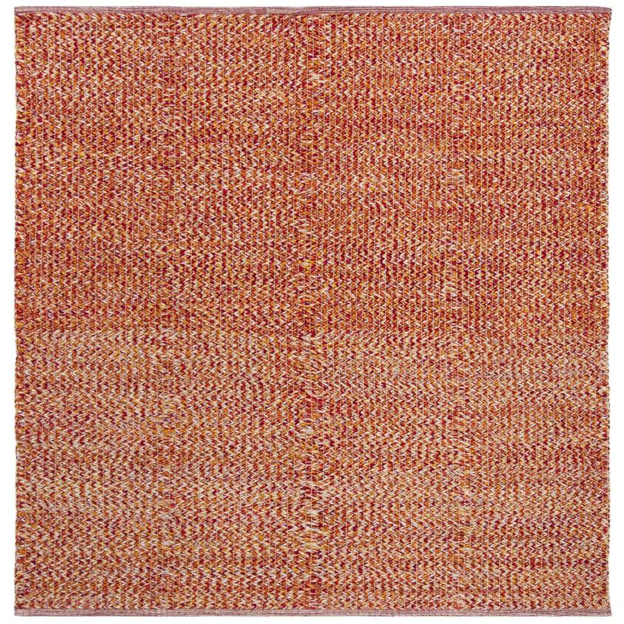 Safavieh Montauk Wategos Orange Square Indoor Handcrafted Coastal Area Rug (Common: 6 x 6; Actual: 6-ft W x 6-ft L)