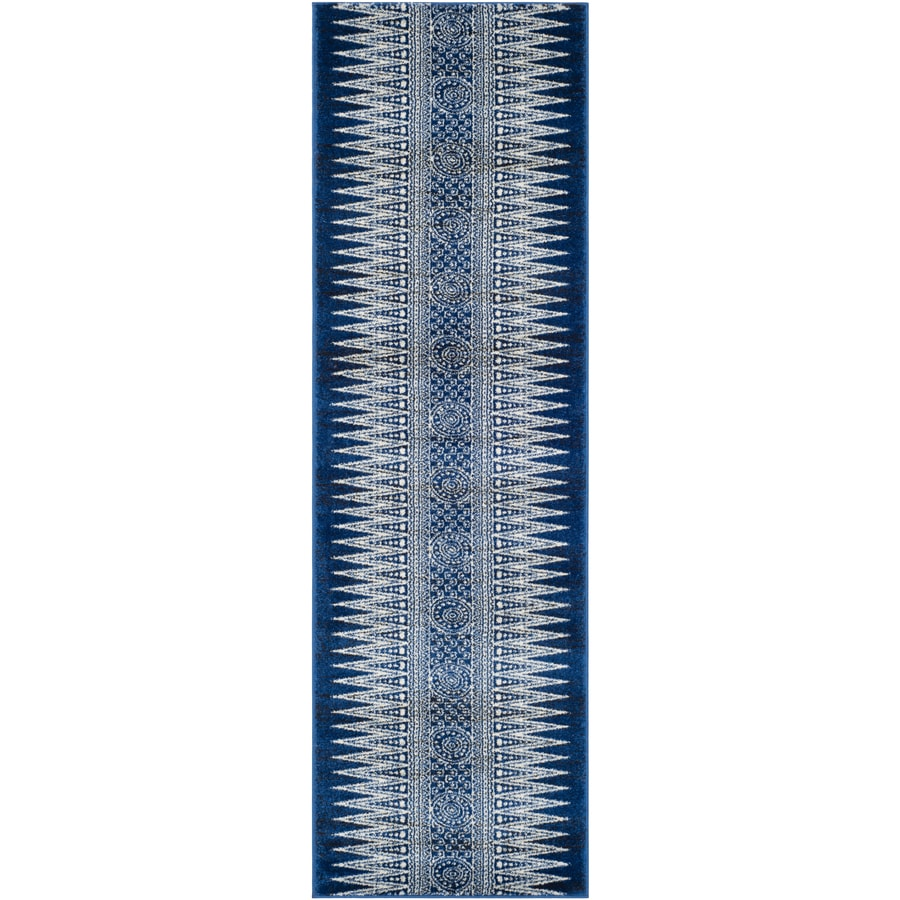 Safavieh Evoke Layla Royal/Ivory Rectangular Indoor Machine-Made Oriental Runner (Common: 2 x 9; Actual: 2.2-ft W x 9-ft L)