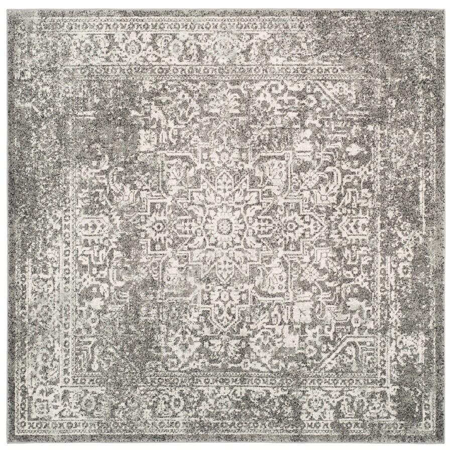 Safavieh Evoke Isla Gray/Ivory Square Indoor Machine-Made Oriental Area Rug (Common: 6 x 6; Actual: 6.6-ft W x 6.6-ft L)