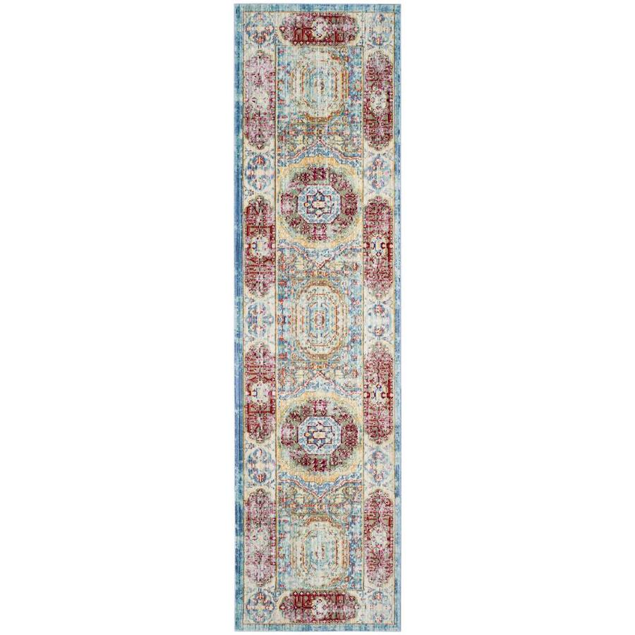 Safavieh Valencia Candence Blue/Multi Rectangular Indoor Machine-made Distressed Runner (Common: 2 x 10; Actual: 2.25-ft W x 10-ft)