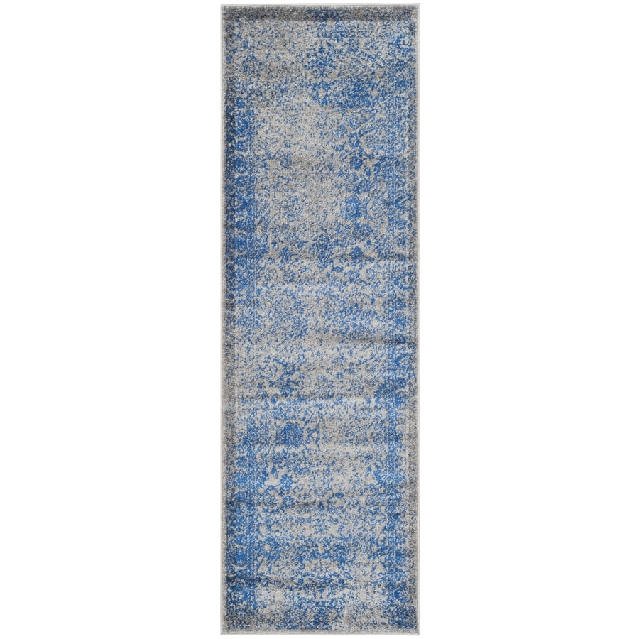 Safavieh Adirondack Kashan Gray/Blue Rectangular Indoor Machine-made Lodge Runner (Common: 2 x 12; Actual: 2.5-ft W x 12-ft L)