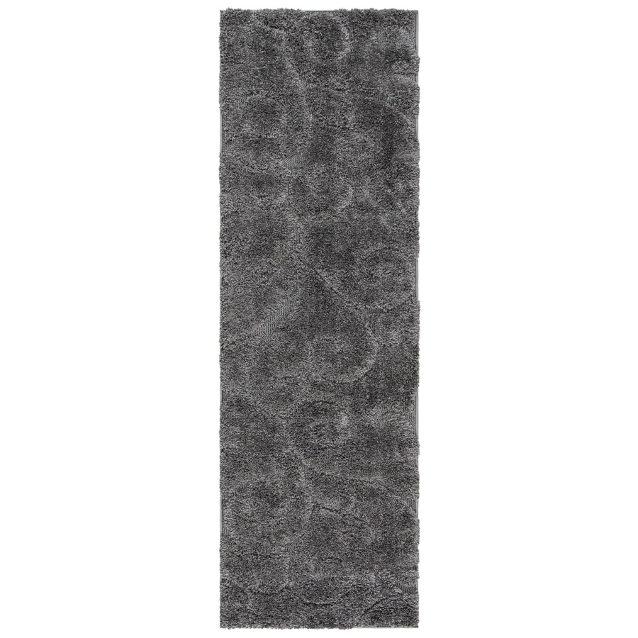 Safavieh Florida Scroll Shag Gray Rectangular Indoor Machine-made Tropical Runner (Common: 2 x 12; Actual: 2.25-ft W x 13-ft L)