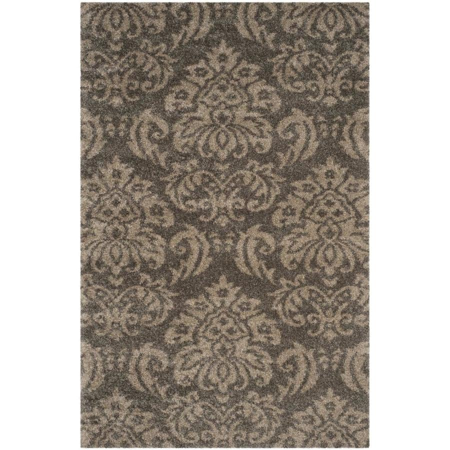 Safavieh Balin Shag Smoke/Beige Rectangular Indoor Machine-made Tropical Area Rug (Common: 6 x 9; Actual: 6-ft W x 9-ft L)