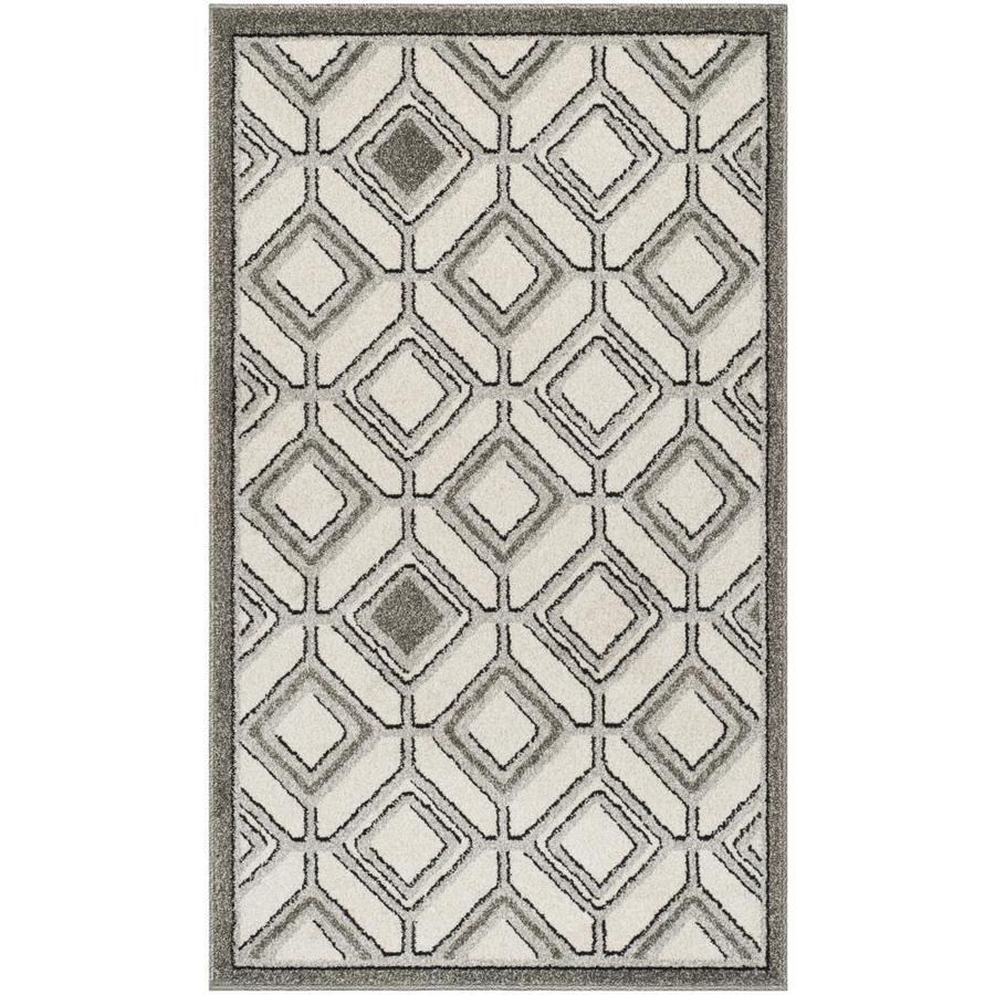Safavieh Dunany Ivory/Light Gray Rectangular Indoor/Outdoor Machine-made Throw Rug (Common: 3 x 5; Actual: 3-ft W x 5-ft)