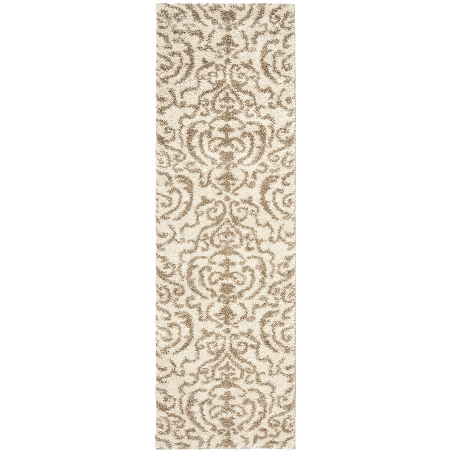 Safavieh Florida Shag Cream/Beige Rectangular Indoor Machine-Made Tropical Runner (Common: 2 x 10; Actual: 2.25-ft W x 10-ft L x 0-ft Dia)