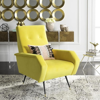 Awesome Safavieh Aida Midcentury Yellow Accent Chair At Lowes Com Inzonedesignstudio Interior Chair Design Inzonedesignstudiocom