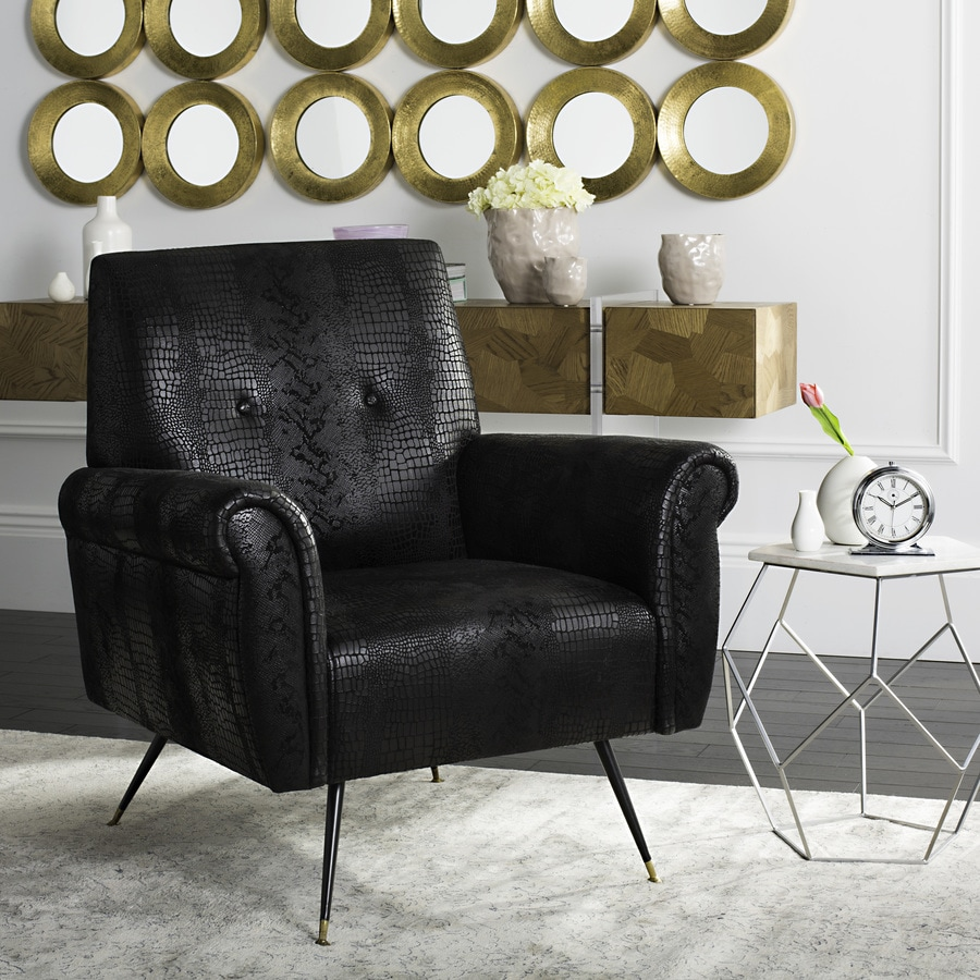 Safavieh Mira Midcentury Black Faux Leather Accent Chair