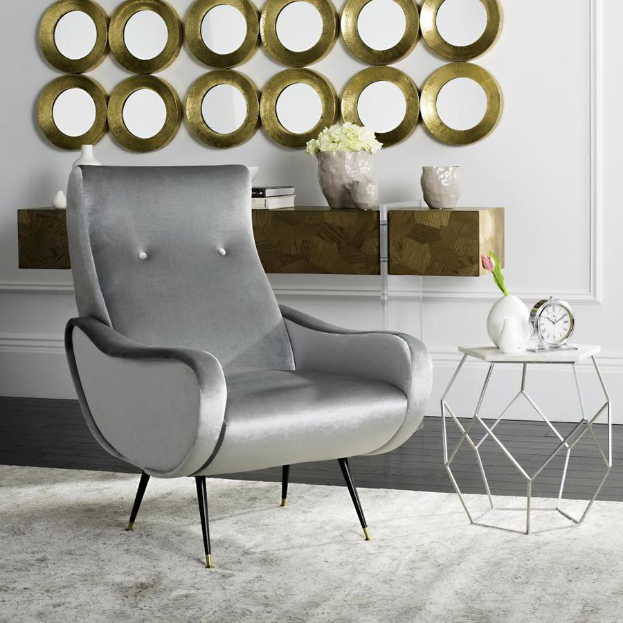 Light Grey Accent Chair: Safavieh Elicia Midcentury Light Gray Accent Chair At