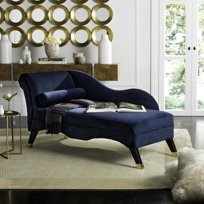 Safavieh Caiden Modern Navy Velvet Chaise Lounge at Lowes.com on Safavieh Chaise Lounge id=91289