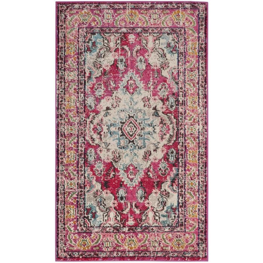 Safavieh Monaco Mahal Pink Rectangular Indoor Machine-Made Distressed Throw Rug (Common: 3 x 5; Actual: 3-ft W x 5-ft L)