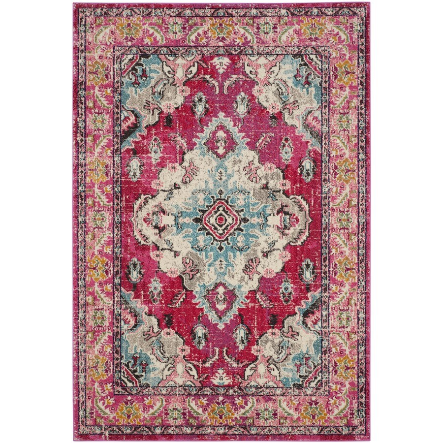 Safavieh Monaco Mahal Pink/Multi Rectangular Indoor Machine-made Oriental Area Rug (Common: 6 x 9; Actual: 6.6-ft W x 9.2-ft L)