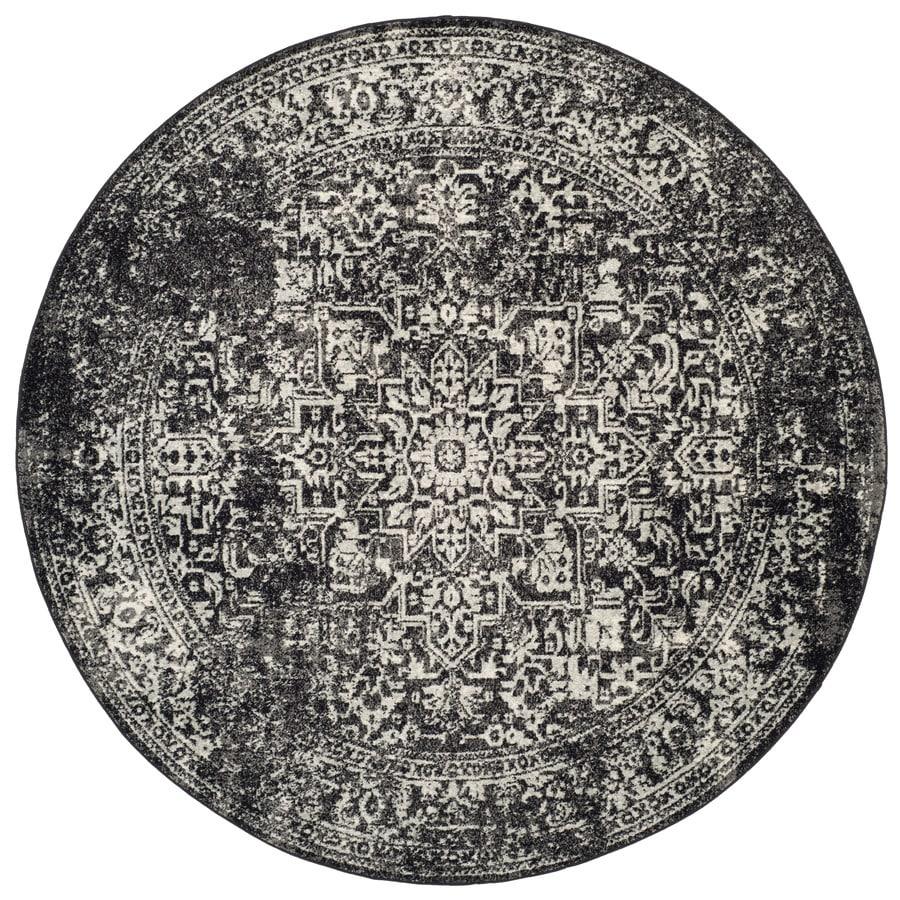 Safavieh Evoke Isla Black/Gray Round Indoor Machine-Made Oriental Area Rug (Common: 6 x 6; Actual: 6.6-ft W x 6.6-ft L x 6.6-ft dia)