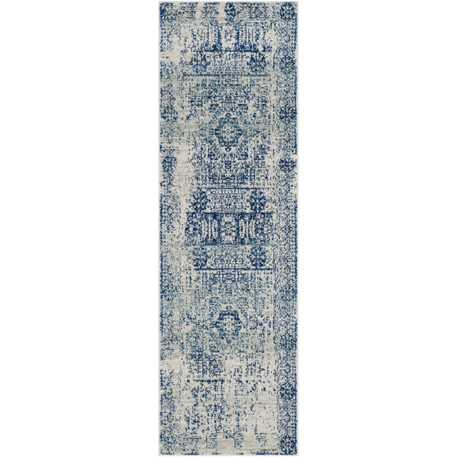 Safavieh Evoke Apipe Ivory/Blue Rectangular Indoor Machine-Made Oriental Runner (Common: 2 x 11; Actual: 2.2-ft W x 11-ft L)