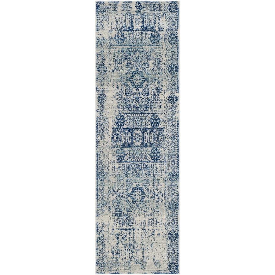Safavieh Evoke Apipe Ivory/Blue Rectangular Indoor Machine-Made Oriental Runner (Common: 2 x 9; Actual: 2.2-ft W x 9-ft L)