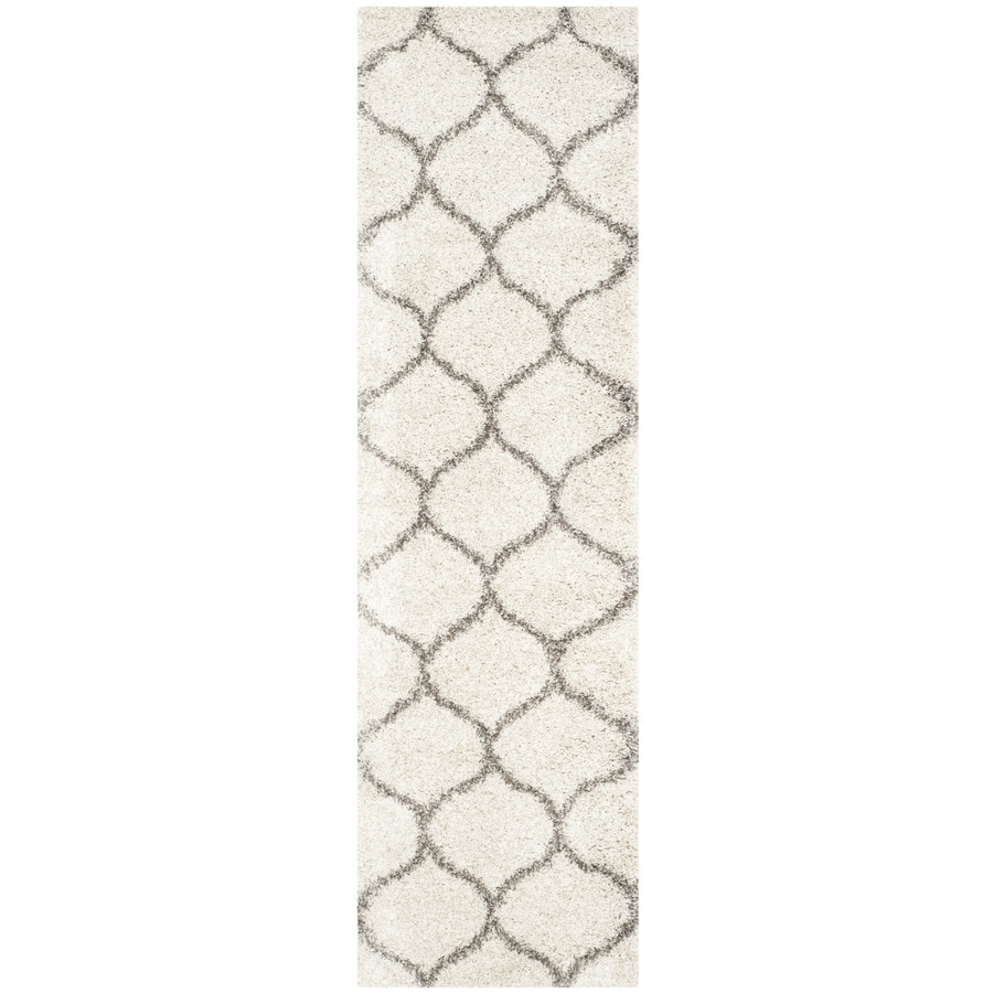 Safavieh Hudson Hathaway Shag Ivory/Gray Rectangular Indoor Machine-made Moroccan Runner (Common: 2 x 10; Actual: 2.25-ft W x 10-ft L)