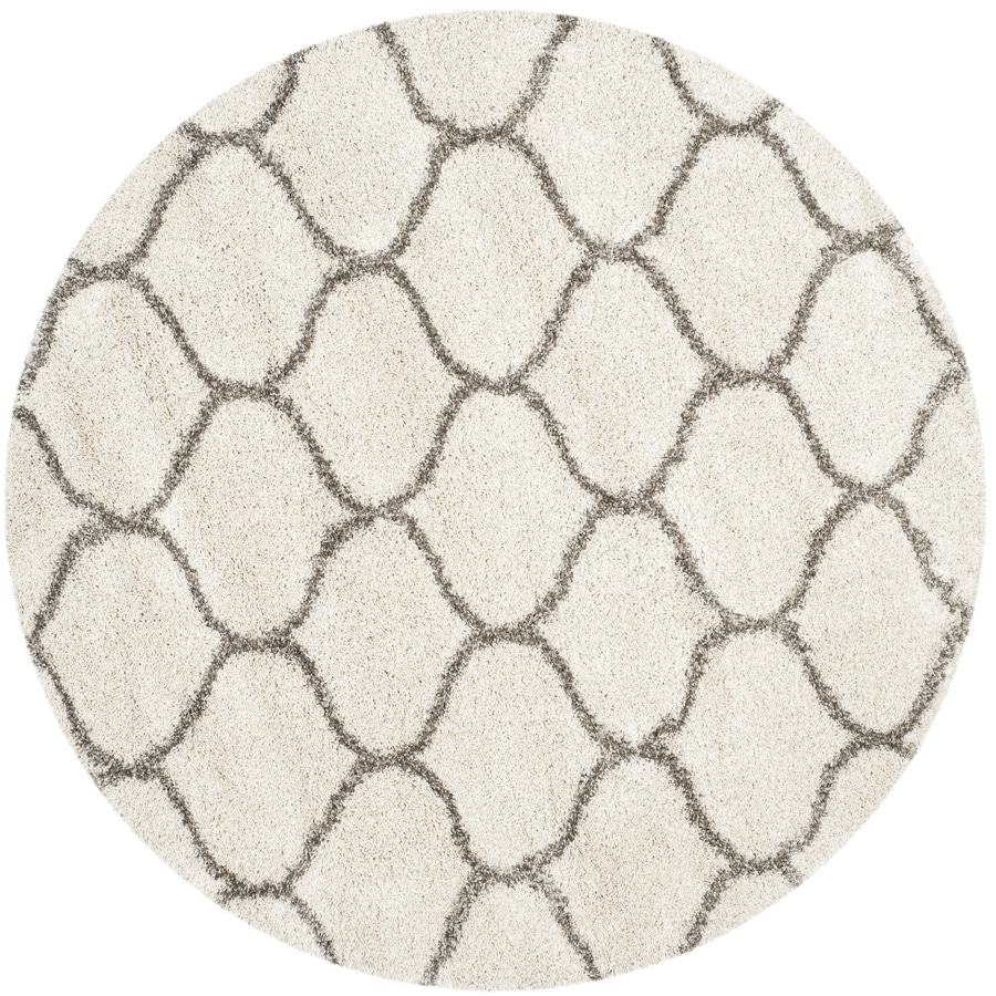 Safavieh Hudson Hathaway Shag Ivory/Gray Round Indoor Machine-made Moroccan Area Rug (Common: 5 x 5; Actual: 5-ft W x 5-ft L x 5-ft dia)