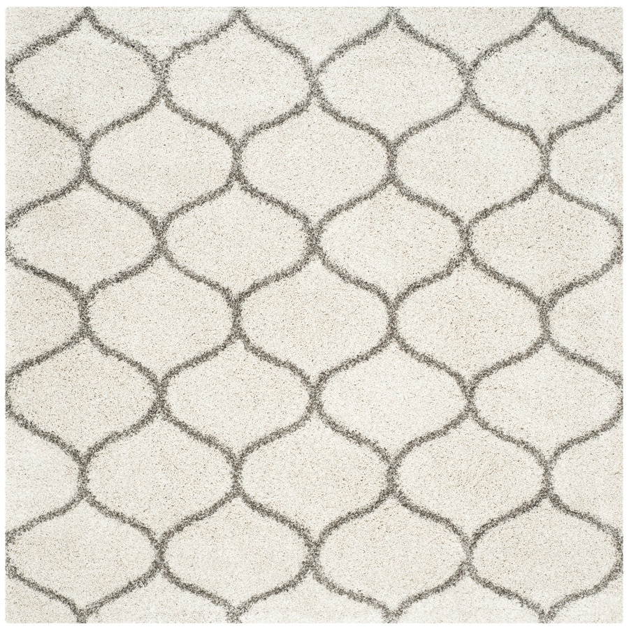 Safavieh Hudson Shag Ivory/Gray Square Indoor Machine-Made Moroccan Area Rug (Common: 5 x 5; Actual: 5-ft W x 5-ft L x 0-ft Dia)
