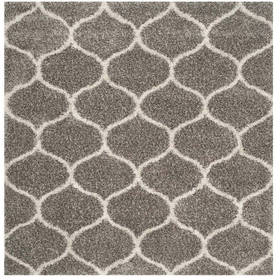 Safavieh Hudson Shag Gray/Ivory Square Indoor Machine-Made Moroccan Area Rug (Common: 9 x 9; Actual: 9-ft W x 9-ft L)