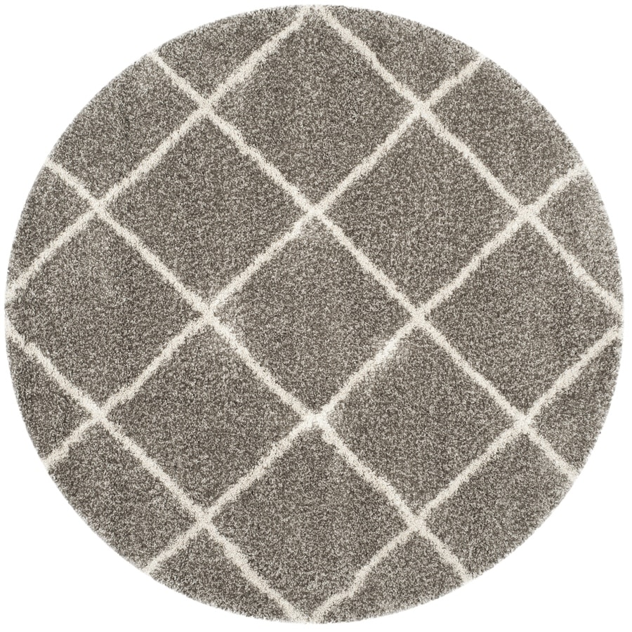 Safavieh Hudson Beckham Shag Gray/Ivory Round Indoor Machine-made Moroccan Area Rug (Common: 9 x 9; Actual: 9-ft W x 9-ft L x 9-ft Dia)