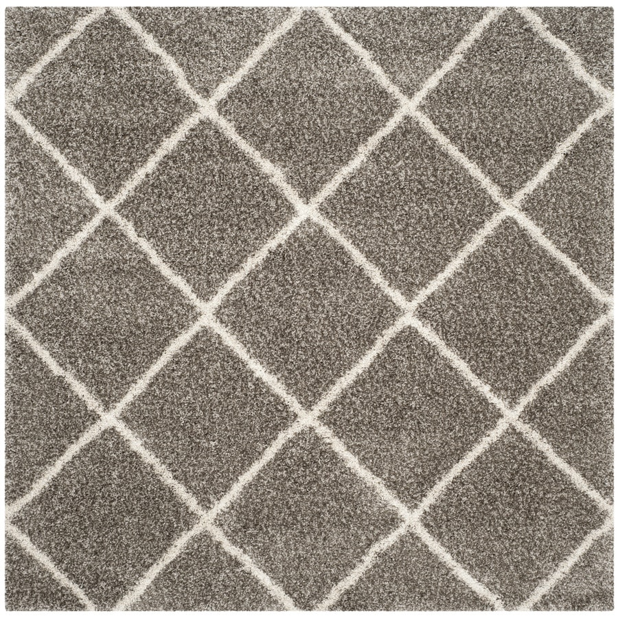 Safavieh Hudson Beckham Shag Gray/Ivory Square Indoor Machine-made Moroccan Area Rug (Common: 9 x 9; Actual: 9-ft W x 9-ft L)