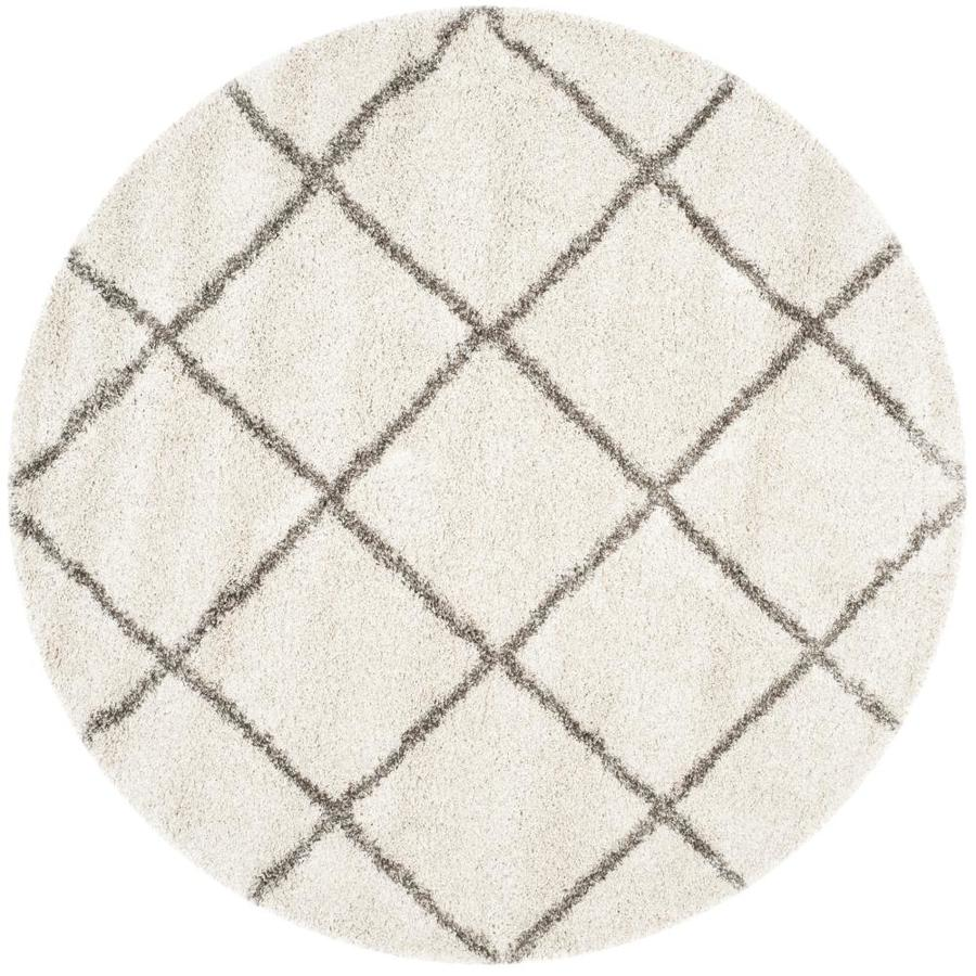 Safavieh Hudson Beckham Shag Ivory/Gray Round Indoor Moroccan Area Rug (Common: 5 x 5; Actual: 5-ft W x 5-ft L x 5-ft dia)