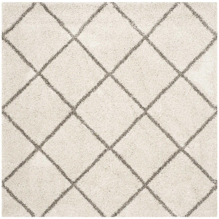 Safavieh Hudson Beckham Shag Ivory/Gray Square Indoor Machine-made Moroccan Area Rug (Common: 5 x 5; Actual: 5-ft W x 5-ft L)