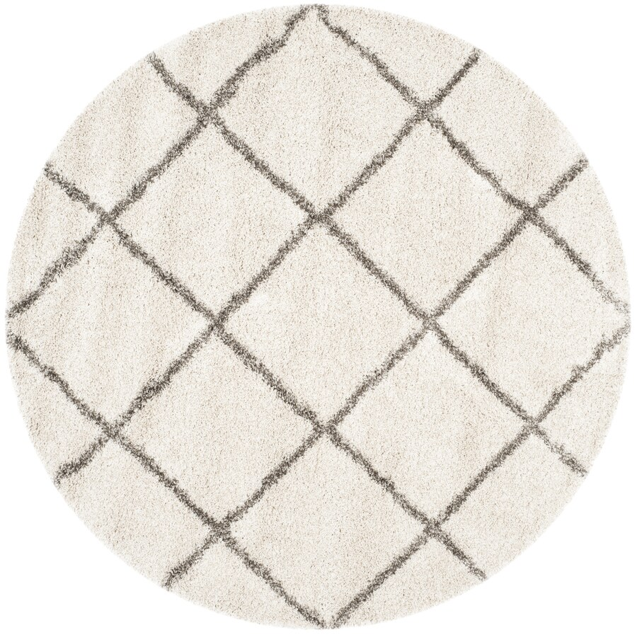 Safavieh Hudson Beckham Shag Ivory/Gray Round Indoor Moroccan Area Rug (Common: 9 x 9; Actual: 9-ft W x 9-ft L x 9-ft dia)