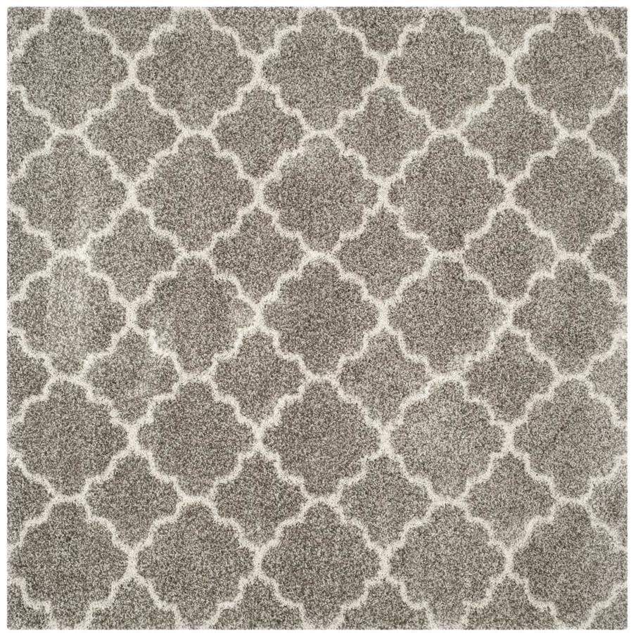 Safavieh Hudson Theron Shag Gray/Ivory Square Indoor Machine-made Moroccan Area Rug (Common: 5 x 5; Actual: 5-ft W x 5-ft L)
