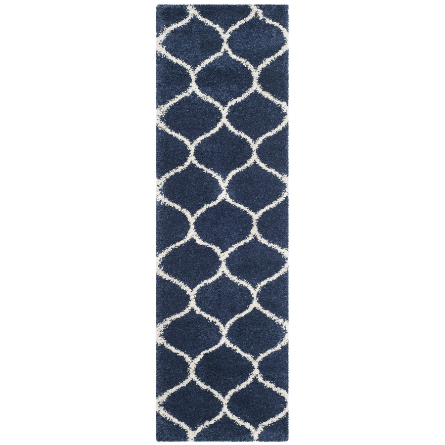 Safavieh Hudson Shag Navy/Ivory Rectangular Indoor Machine-Made Moroccan Runner (Common: 2 x 10; Actual: 2.25-ft W x 10-ft L x 0-ft Dia)