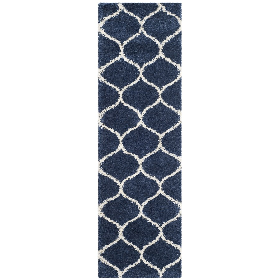Safavieh Hudson Hathaway Shag Navy/Ivory Rectangular Indoor Machine-made Moroccan Runner (Common: 2 x 12; Actual: 2.25-ft W x 12-ft L)