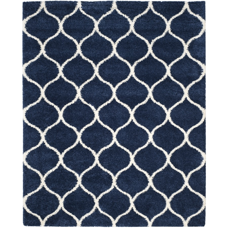 Safavieh Hudson Hathaway Shag Navy/Ivory Rectangular Indoor Machine-made Moroccan Area Rug (Common: 10 x 14; Actual: 10-ft W x 14-ft L)