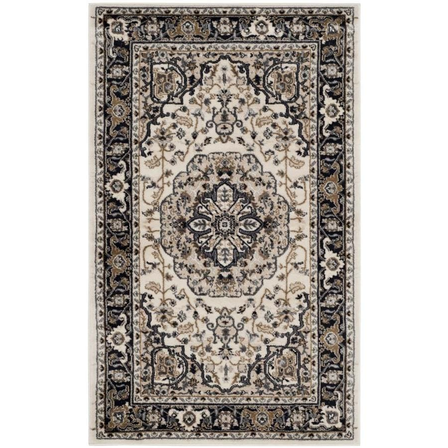 Safavieh Lyndhurst Cream/Navy Rectangular Indoor Machine-Made Oriental Throw Rug (Common: 3 x 5; Actual: 3.25-ft W x 5.25-ft L)