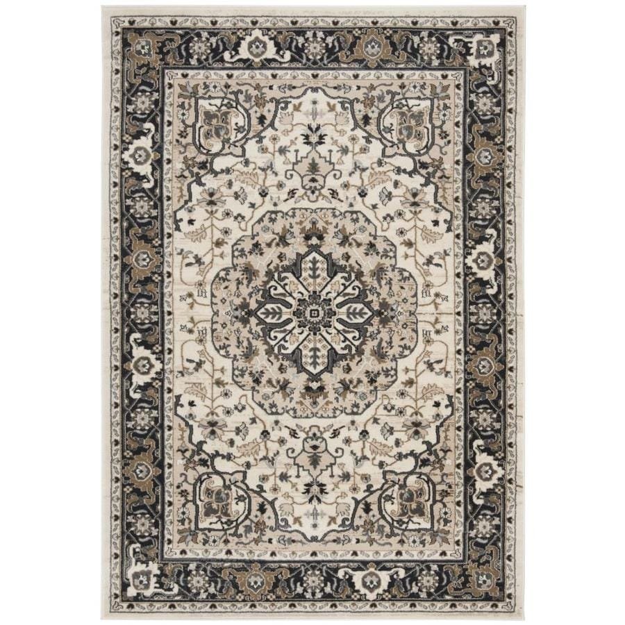 Safavieh Lyndhurst Cream/Navy Rectangular Indoor Machine-Made Oriental Area Rug (Common: 5 x 7; Actual: 5.25-ft W x 7.5-ft L)