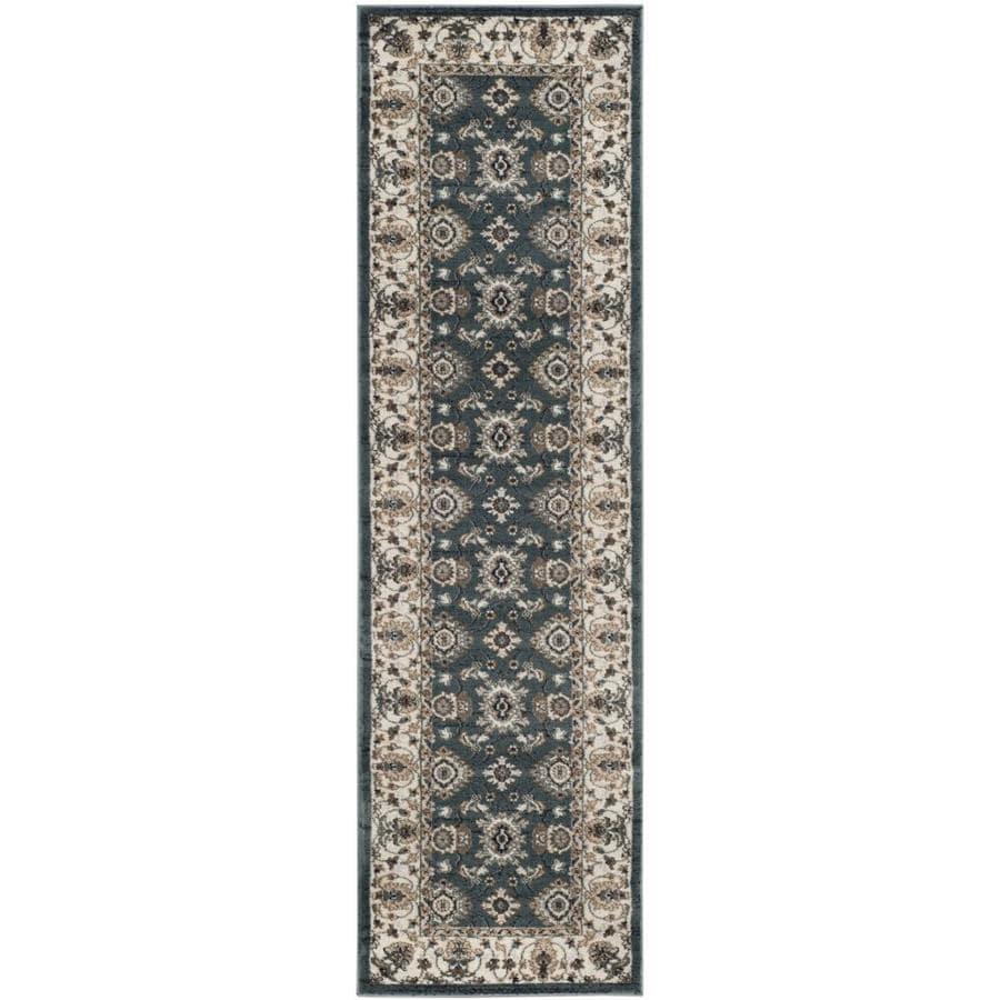Safavieh Lyndhurst Samadan Teal/Cream Rectangular Indoor Machine-made Oriental Runner (Common: 2 x 12; Actual: 2.25-ft W x 12-ft L)