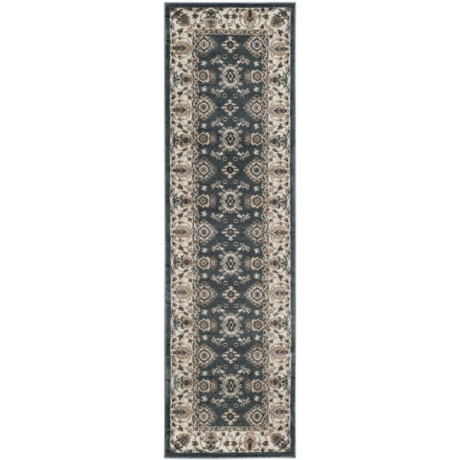 Safavieh Lyndhurst Teal/Cream Rectangular Indoor Machine-Made Oriental Runner (Common: 2 x 8; Actual: 2.25-ft W x 8-ft L)