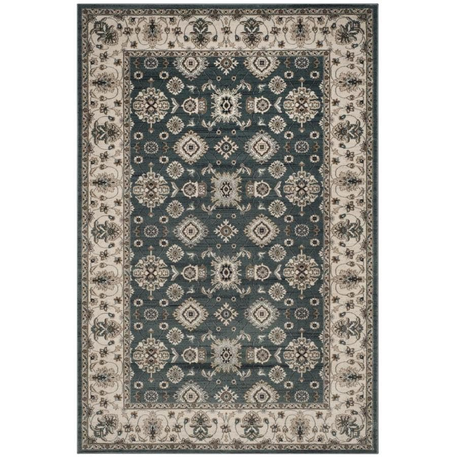 Safavieh Lyndhurst Teal/Cream Rectangular Indoor Machine-Made Throw Rug (Common: 3 x 5; Actual: 3.25-ft W x 5.25-ft L)