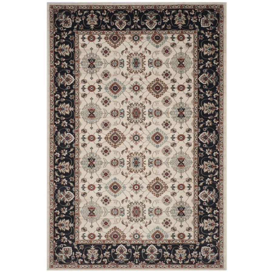 Safavieh Lyndhurst Samadan Cream/Navy Indoor Oriental Area Rug (Common: 6 x 9; Actual: 6-ft W x 9-ft L)