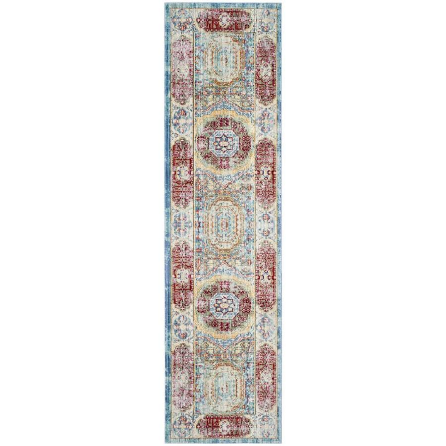 Safavieh Valencia Candence Blue/Multi Rectangular Indoor Machine-made Distressed Runner (Common: 2 x 12; Actual: 2.25-ft W x 12-ft)