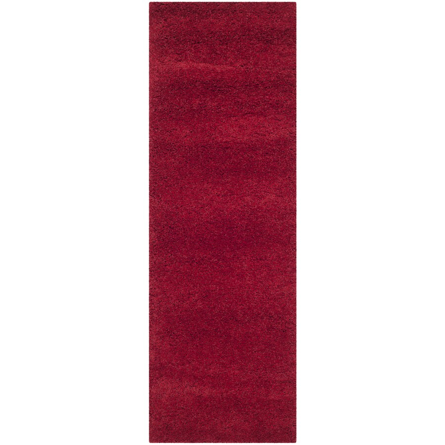 Safavieh Milan Shag Red Rectangular Indoor Runner (Common: 2 x 8; Actual: 2-ft W x 8-ft L)